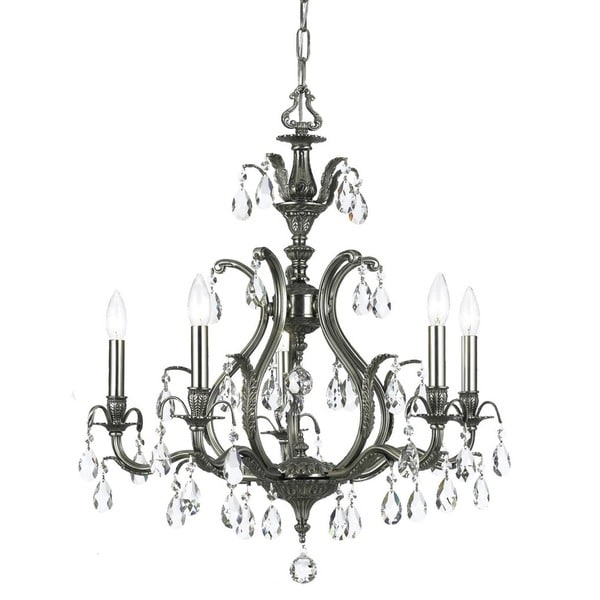 Crystorama Dawson Collection 5-light Pewter/Crystal Chandelier