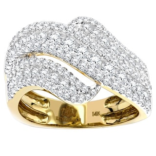 Luxurman 14k Gold 1 5/8ct TDW Massive Diamond Wave Ring (G-H, SI1-SI2)