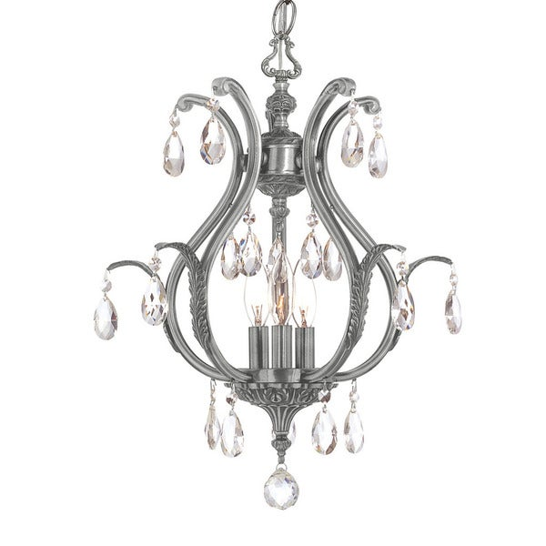 Crystorama Dawson Collection 3-light Pewter/Crystal Mini Chandelier