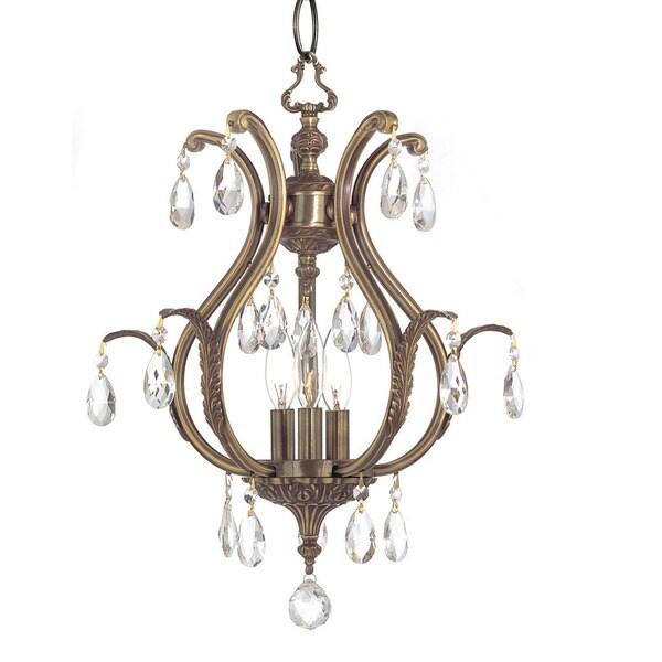 Crystorama Dawson Collection 3-light Antique Brass/Swarovski Elements Strass Crystal Mini Chandelier