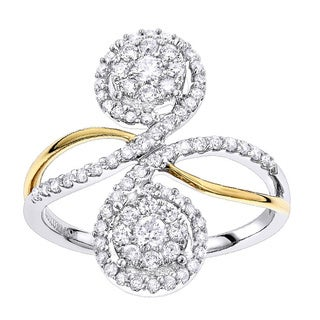 Luxurman 14k Gold 3/4 ct. TDW Cluster Diamond Ring (H-I, SI1-SI2)