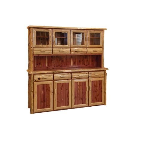 Rustic Red Cedar Log 4 Door Hutch and Buffet - Amish