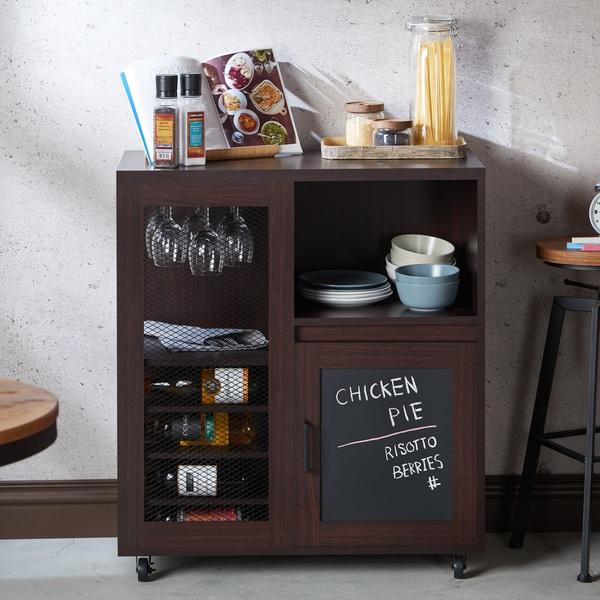 Attirant Furniture Of America Ponne Industrial Chalkboard Walnut Mobile Server/Mini  Bar