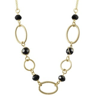 Luxiro Gold Finish Black Beads Linked Ovals Necklace