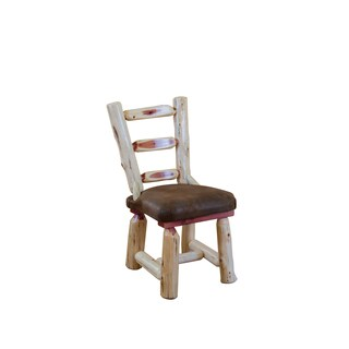 Rustic Red Cedar Log Dining Chair- Upholstered Seat - Amish