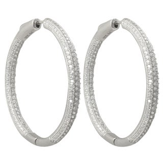 Luxiro Sterling Silver Micropave Cubic Zirconia 40x40-mm Hoop Earrings