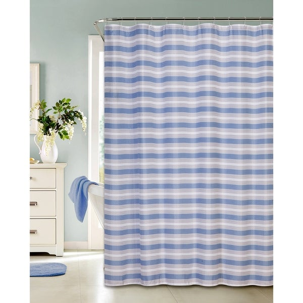 Classic Stripe Printed Waffle Shower Curtain