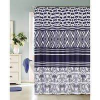 Concentric Diamonds Printed Waffle Shower Curtain