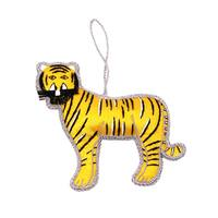 Handmade Yellow Tiger Holiday Ornament (India)