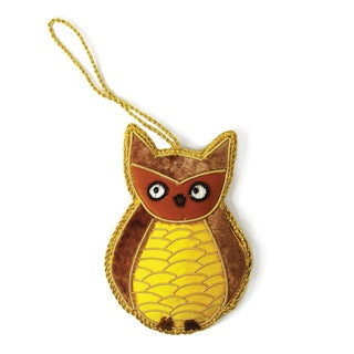 Handmade Woodland Owl Ornament (India)