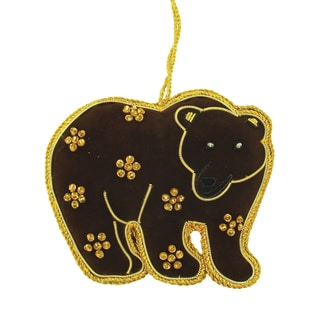 Handmade Brown Bear Ornament (India)