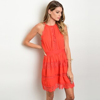 Shop The Trends Women's Red Sleeveless Mini Lace Dress With Elastic Waist