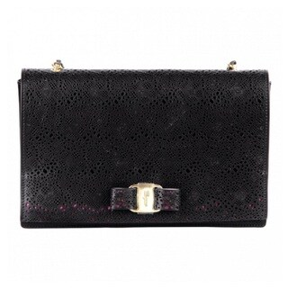 Salvatore Ferragamo Ginny Black Leather Lace Handbag