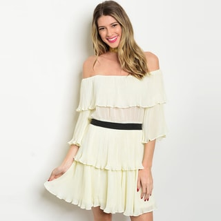 Shop The Trends Women's Ivory 3/4-Sleeve Off-Shoulder Ruffled Dress