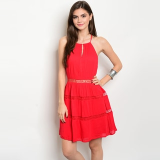 Shop The Trends Women's Spaghetti Strap Dress with Keyhole Detail And Crochet Cutouts