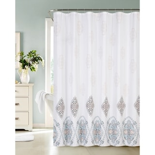 Fresco Medallions Printed Waffle Shower Curtain