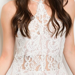 Shop The Trends Women's All-over Lace Design Spaghetti Strap Halter Neck Romper