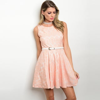 Shop the Trends Women's All-over Lace Sleeveless Fit and Flare Dress With Skinny Belt