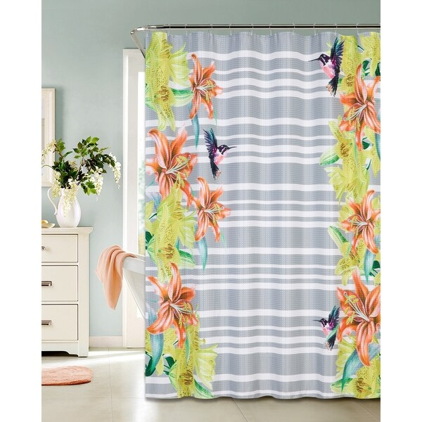 Hummingbird Design Printed Waffle Shower Curtain