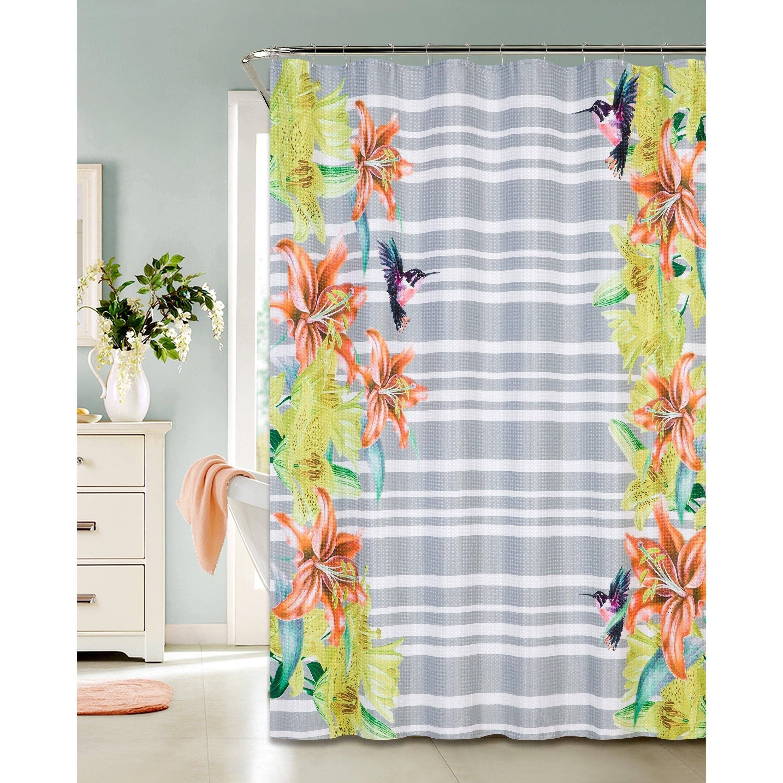Hummingbird Design Printed Waffle Shower Curtain (Printed...