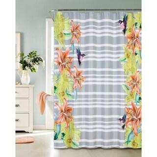 Hummingbird Design Printed Waffle Shower Curtain