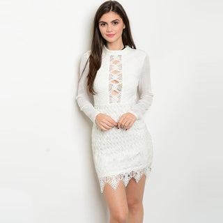 Shop The Trends Women's White Nylon Long-slevee Mock-neck Crochet Lace Bodycon Dress