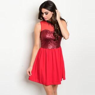 Shop The Trends Women's Sequined Fitted Waist Sheer Neckline Sleeveless Dress