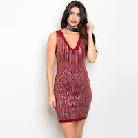 Shop The Trends Women's Burgundy Spandex Blend Sleeveless Hot Pix Bodycon Dress