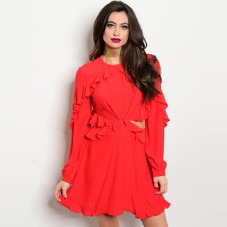 Shop The Trends Women's Long-sleeve Ruffle Detail Round Neckline Red Cotton, Spandex Dress