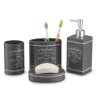 Home Basics Grey 4-piece Paris Bath Accessory Set