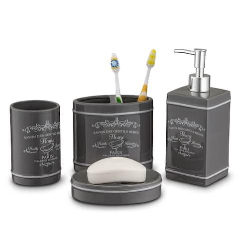 Home Basics Grey 4-piece Paris Bath Accessory Set