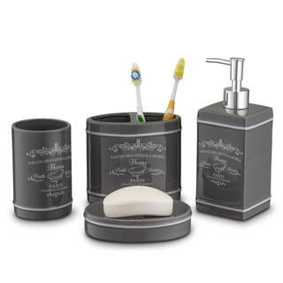 home basics paris collection 4 piece bathroom accessory set in slate - Bathroom Accessories Set
