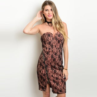 Shop The Trends Women's Strapless Lace Dress with Sweetheart Neckline