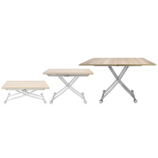 Transforming X Coffee and Dining Table in Light Wood Finish