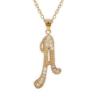 Luxiro Rose Gold Finish Sterling Silver Cubic Zirconia Initial Pendant Necklace