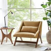 INK+IVY Boomerang Mustard Yellow/ Pecan Lounge Chair
