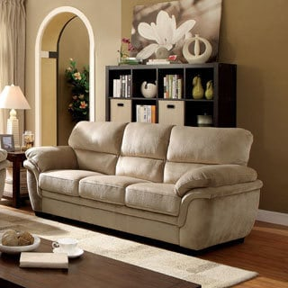 Furniture of America Lemmy Transitional Plush Microfiber Sofa