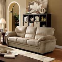 Furniture of America Lemmy Transitional Plush Microfiber Sofa