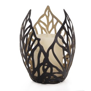 2017 New Adeco Romantic Arty 3-leaf Style Metal Candle Holder