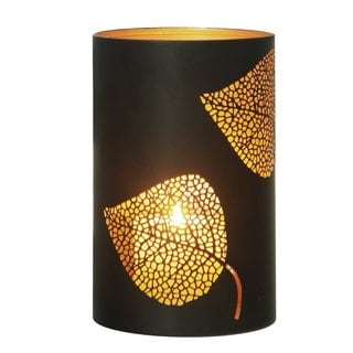 2017 New Adeco Classic Oriental Style Leaf Pattern Metal Candle Holder