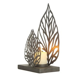 2017 New Adeco Leaf Sytle Metal Candle Holder