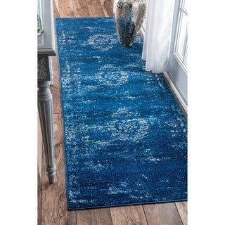 nuLOOM Traditional Overdyed Medallion Blue Runner Rug (2'8 x 8')