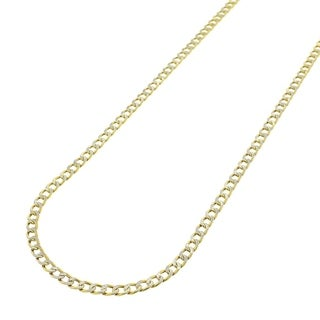 14k Yellow Gold 2.5mm Hollow Cuban Curb Link Diamond-cut Pave Chain Necklace