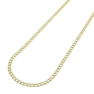 14k Yellow Gold 2.5mm Hollow Cuban Curb Link Diamond-cut Pave Chain Necklace https://ak1.ostkcdn.com/images/products/14083291/P20694009.jpg?impolicy=medium