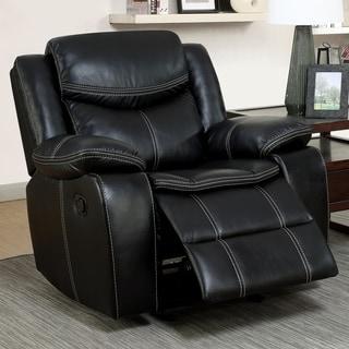 Furniture of America Brigger Transitional Black Breathable Leatherette Recliner