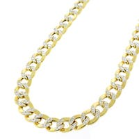 "14k Yellow Gold 6.5mm Hollow Cuban Curb Link Diamond Cut Two-Tone Pave Necklace Chain 24"" - 30"""