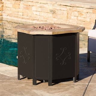 Tiburon Outdoor 30-inch Octagonal Liquid Propane Fire Pit with Lava Rocks by Christopher Knight Home