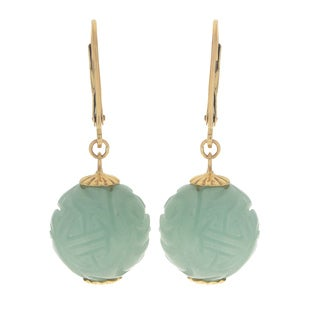 Gems For You 14KY Carved Jade Ball Drop Earrings