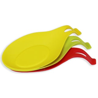 3 Color Pack Silicone Spoon Rest, Yellow - Green - Red