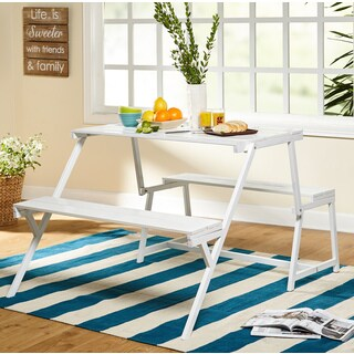 Simple Living Metal Folding Table and Dining Bench Set